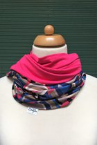 Women Loop Scarf SD4101GEOP - geomatry patterned/pink