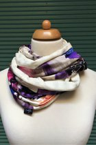 Women Loop Scarf SD4136VCB - violet-coloured brindle/ribbed cream