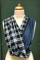 Men Loop Scarf SD4247BGC - White-blue-grey checked/petrol blue