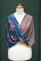 Shawl SD3030RPB - rose pattern on blue base/taupe