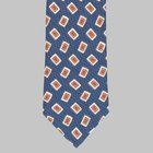 Drake's - Silk/Linen Chevronne Printed Tie denim blue