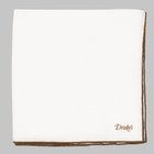 Drake's - Linen Shoestring Pocket Square white/dark brown