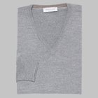 Gran Sasso - Slim fit Merino wool V-neck sweater light grey