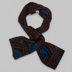 Fumagalli 1891 - Milano scroll motif wool/silk scarf borwn/navy