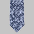 Drake's - Printed circle/line motif Tie ink blue/white
