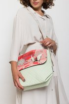 MINI BAG WITH COVER White dotted with corall colibri cover