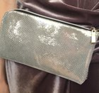 CLUTCH WITH STRAP Shiny silver clutch